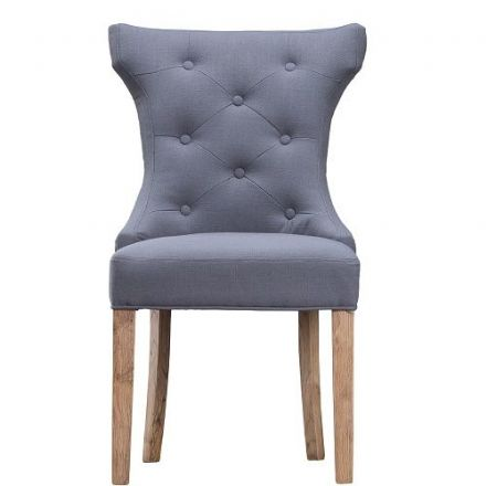 Loire Grey Winged Button Back Chair with Metal Ring